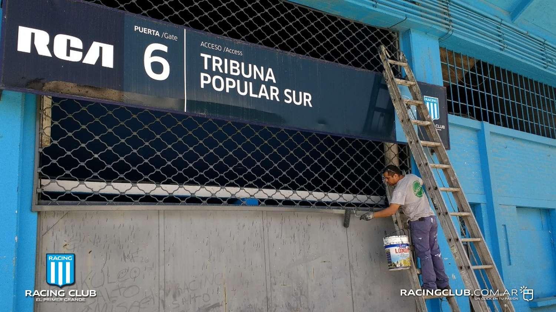 Las obras en el estadio no se toman vacaciones racing for Puerta 20 estadio racing